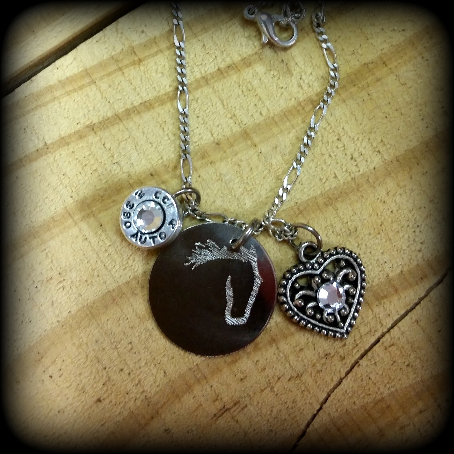 Bullet Casing Base, Horse and Heart Charm Necklace