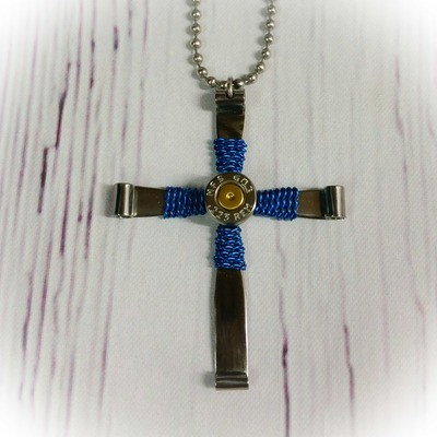 Steel Bullet Casing Cross Necklace