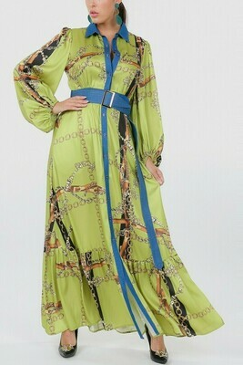 Bell Bottom Print Maxi Dress