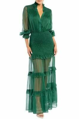 Green PinTuck Maxi Dress
