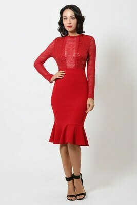 Valentine Sequin Midi Dress