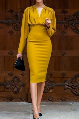 Mustard Long sleeve Midi Dress