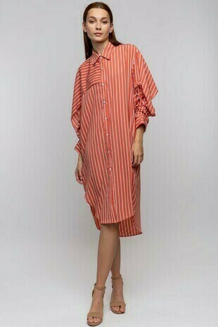 Tie Sleeve Striped Shirt Dress