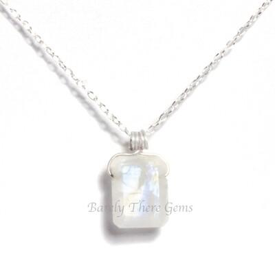 Moonstone, Sterling Silver, Emerald Facet