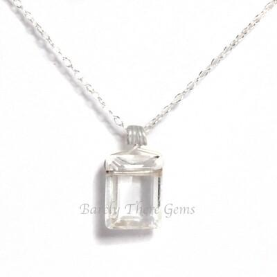 Clear Quartz, Sterling Silver, Emerald Facet