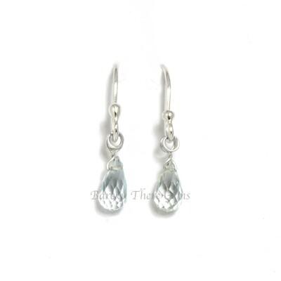 Aquamarine, Sterling Silver, Drop Earrings