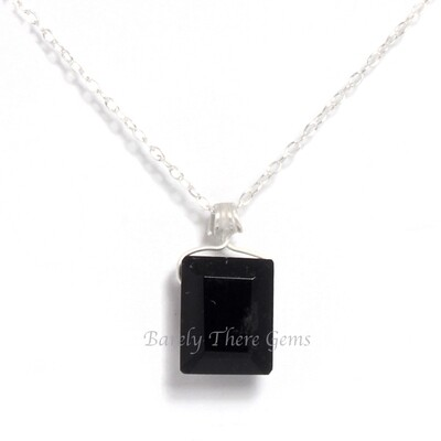 Black Onyx, Sterling Silver, Emerald Facet