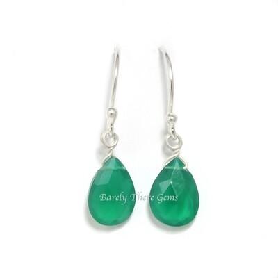 Green Onyx, Sterling Silver, Drop Earrings