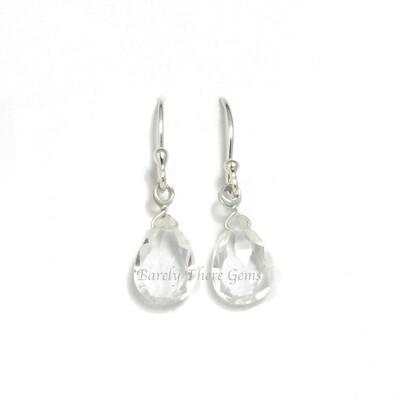 Clear Quartz, Sterling Silver, Drop Earrings