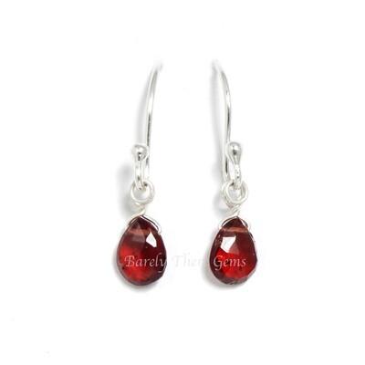Garnet, Sterling Silver, Drop Earrings