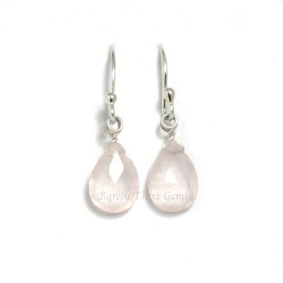 Rose Quartz, Sterling Silver, Drop Earrings