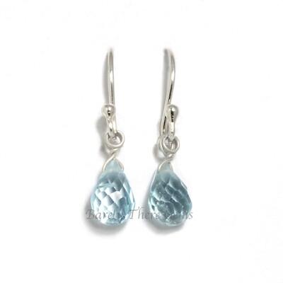 Blue Topaz, Sterling Silver, Drop Earrings