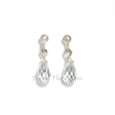 Aquamarine, Sterling Silver, Stud Earrings