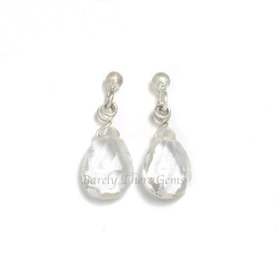 Clear Quartz, Sterling Silver, Stud Earrings