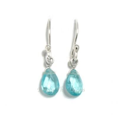 Sea Green Apatite, Sterling Silver, Drop Earrings
