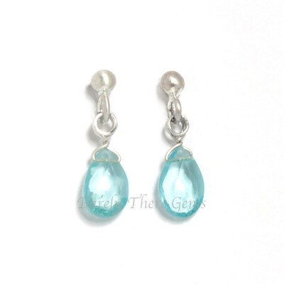 Sea Green Apatite, Sterling Silver, Stud Earrings