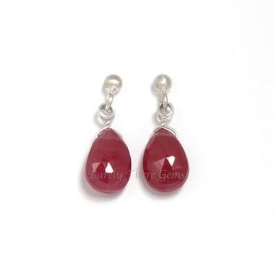 Ruby, Sterling Silver, Stud Earrings