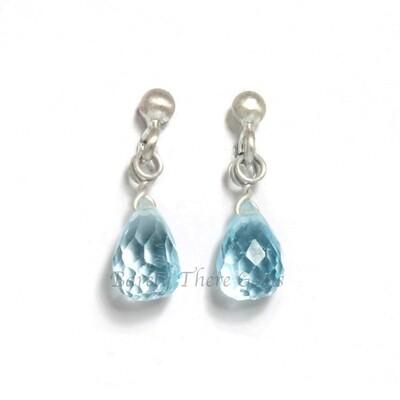 Blue Topaz, Sterling Silver, Stud Earrings