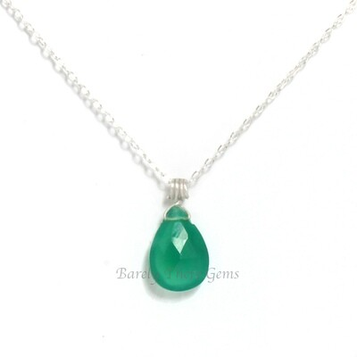 Green Onyx, Sterling Silver, Necklace
