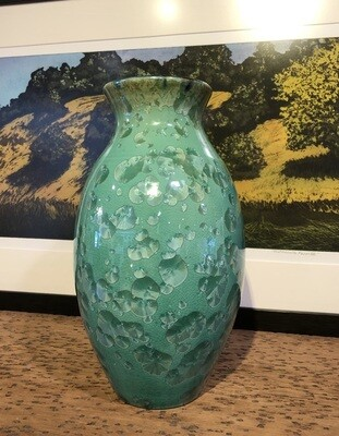 Green Vase with Crystals