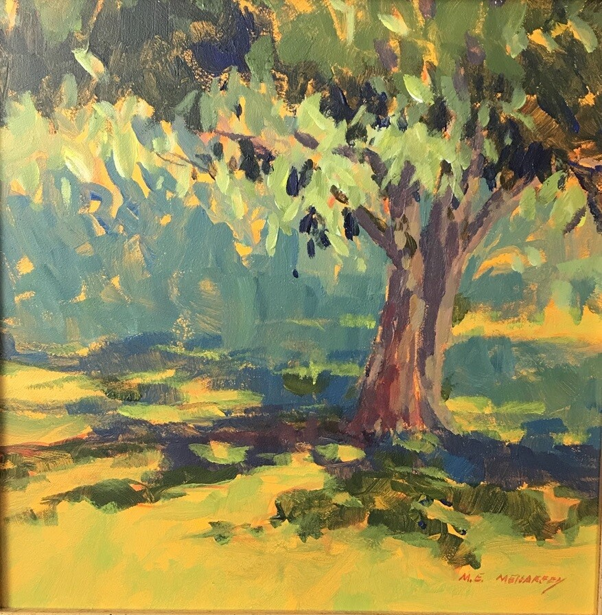 Tree Shadows.  Small Landscape Painting