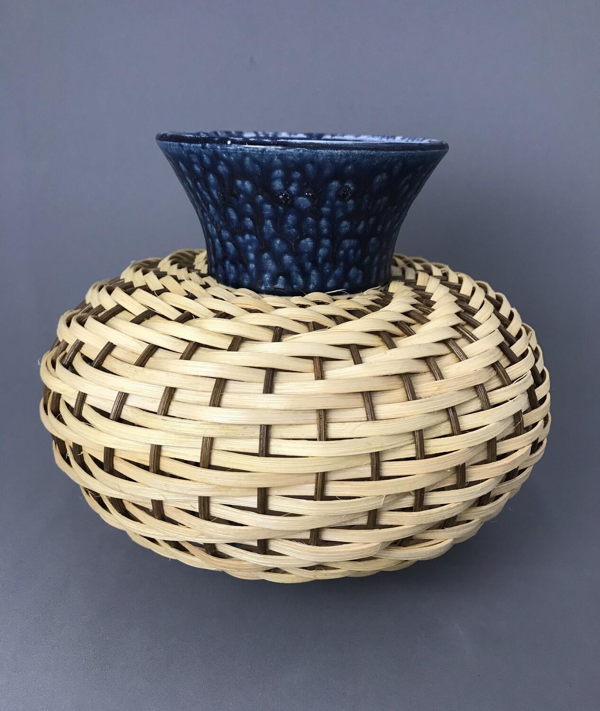 Medium Ceramic & Reed Vase