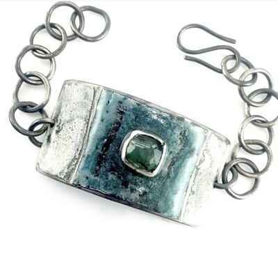 Women's Tourmaline, Silver, and Enamel Bracelet