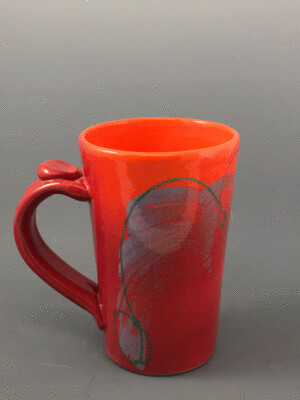 Tall Red and Orange Ceramic Mug