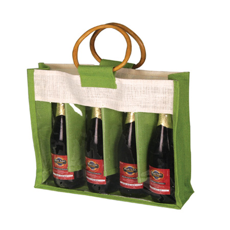 Four Wine Bottle Jute Bagwith Plastic Window and natural Cane Handles (Price for 50 pcs)