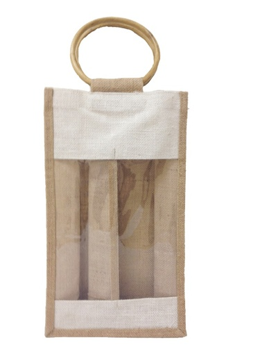 Two Wine Bottle Jute Bag with Plastic Windows. (Price for 50 pcs)