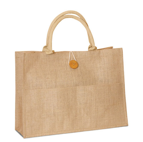 Jute Shopping Bag with front packet, Buttoned closure and cotton webbed handles. (Price for 50 pcs)