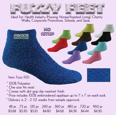 Embroidered fuzzy feet slipper socks (48 pr Min.)