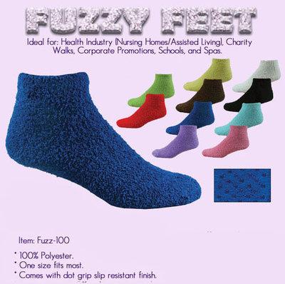 fuzzy feet slipper socks Blank.(48 pr Min.)