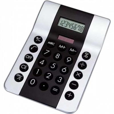 Black and silver dual powered calculator.