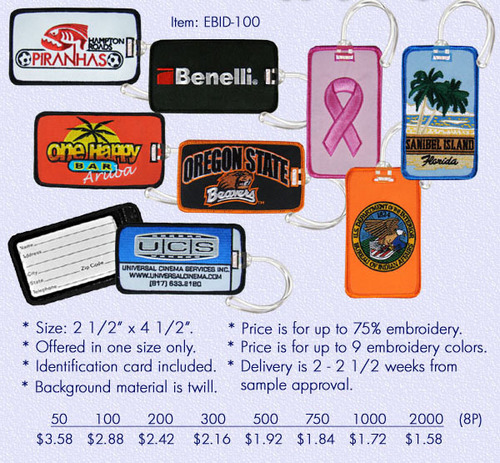 Embroidered Luggage Tags - 50 Pc Min