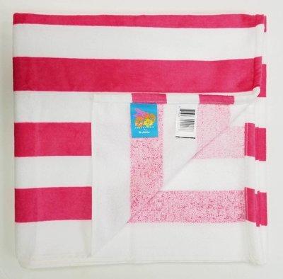 30x60 Pink Cabana Striped Beach Towel Bahia Collection