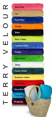 32x64 Terry Velour Beach Towel. 100 % Soft Cotton. Imported.