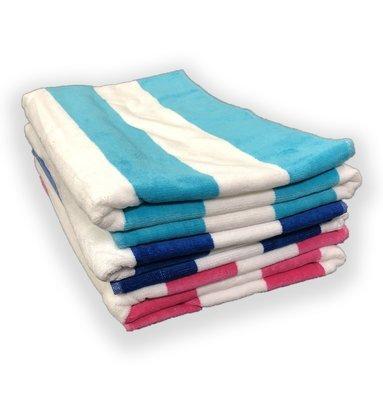 35x70 Terry Beach Towels Cotton Velour Cabana Stripe 18.75 Lbs per Dz. 100% Cotton.