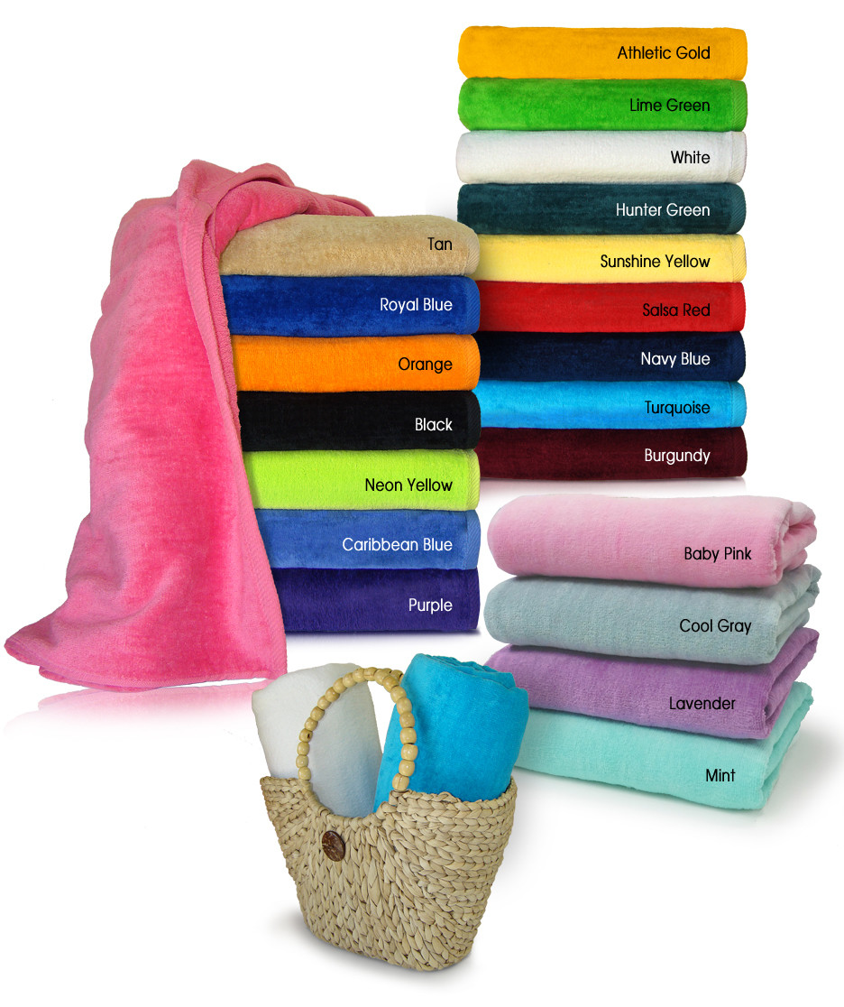 30x60 Light Weight Terry Velour Beach towel, 100% Soft Cotton. Imported.