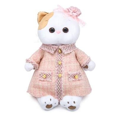 BUDI BASA Мягкая игрушка Кошечка Ли-Ли в розовом костюме в клетку - 24 см в положении сидя