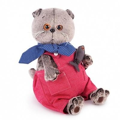 BUDI BASA Мягкая игрушка Басик в красном комбинезоне - 30см в положении сидя