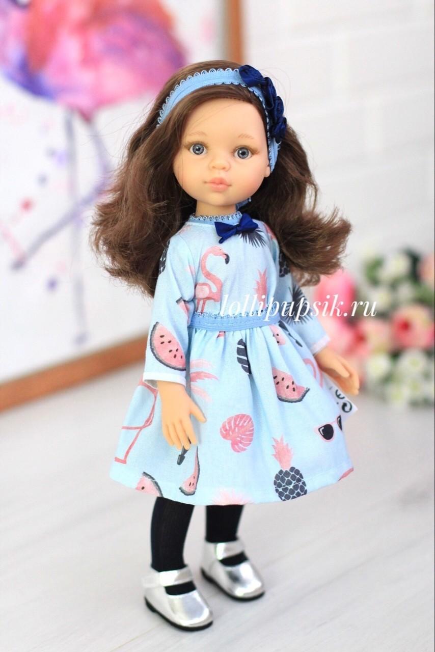 Кукла Кэрол с волосами до плеч в модной одежде, с серыми глазами (Паола Рейна), 34 см