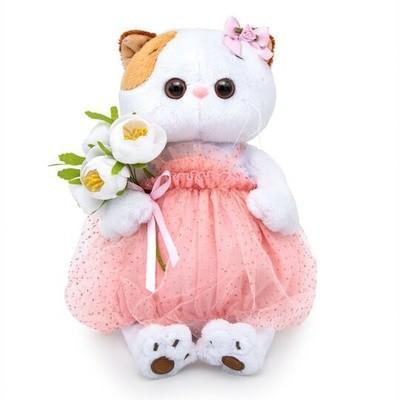 BUDI BASA Мягкая игрушка Кошечка Ли-Ли с белым букетом - 27 см в положении сидя