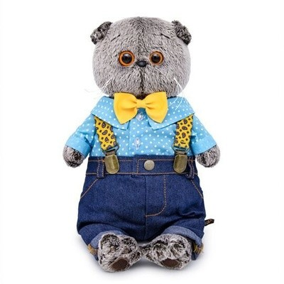 BUDI BASA Мягкая игрушка Кот в джинсах с подтяжками - 25 см в положении сидя