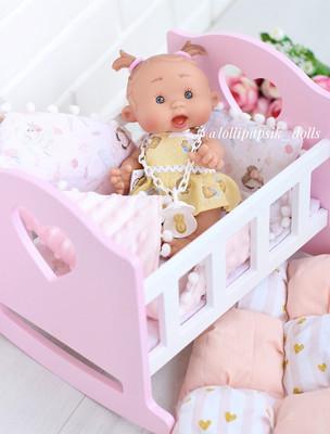 Кроватка для кукол (цвет розовый с белым)