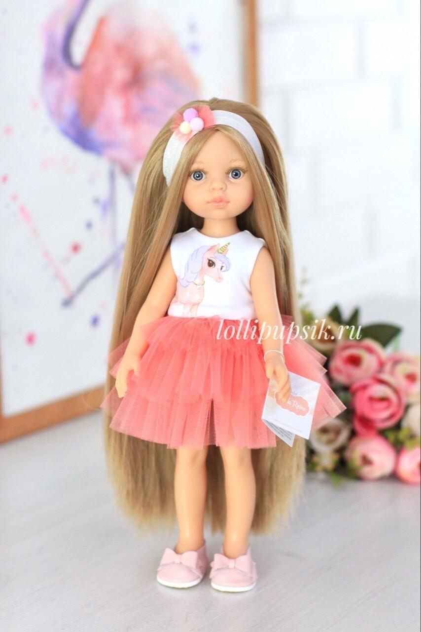 Кукла Карла Рапунцель с серыми глазами в платье Паола Рейна , 34 см