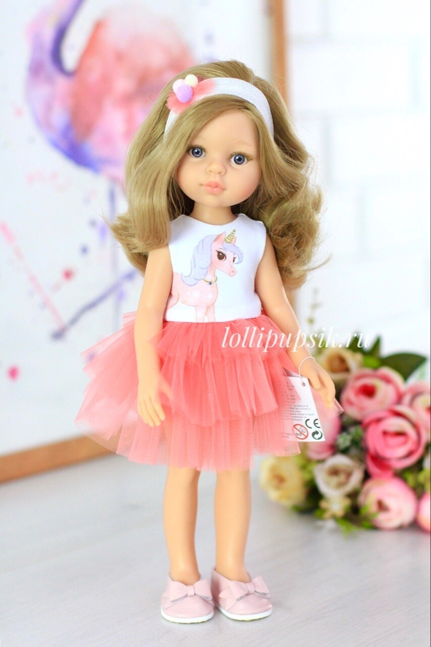 Кукла Карла с серыми глазами, волосами до пояса в платье (Паола Рейна), 34 см