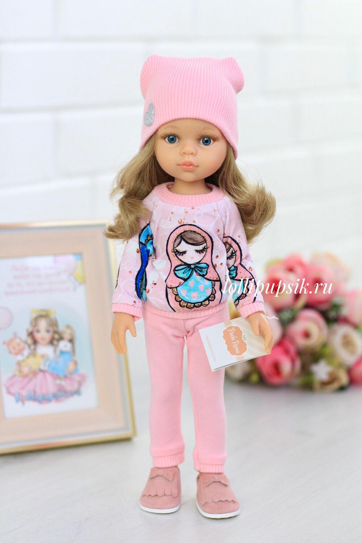 Кукла Карла с волосами до пояса в модном наряде, с голубыми глазами (Паола Рейна), 34 см