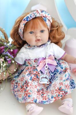 Кукла Тита рыжеволосая, в цветочном платье, 45 см