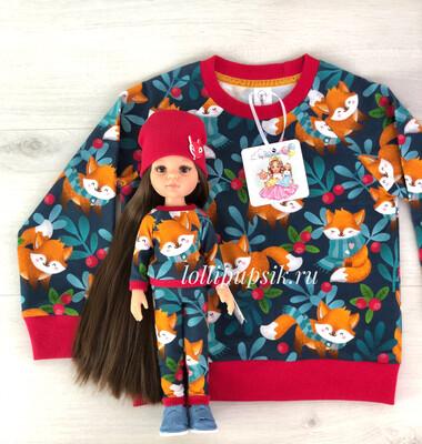 Фэмилилук «Лисички», свитшот на девочку + костюм на куколку